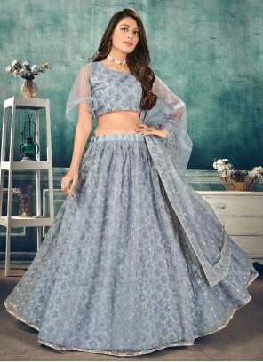 Blue Sequins Sangeet Lehenga Choli
