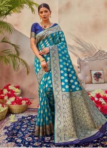 Blue Silk Ceremonial Traditional Designer Saree