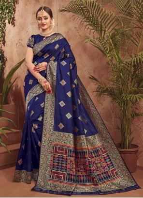 Blue Silk Ceremonial Traditional Saree