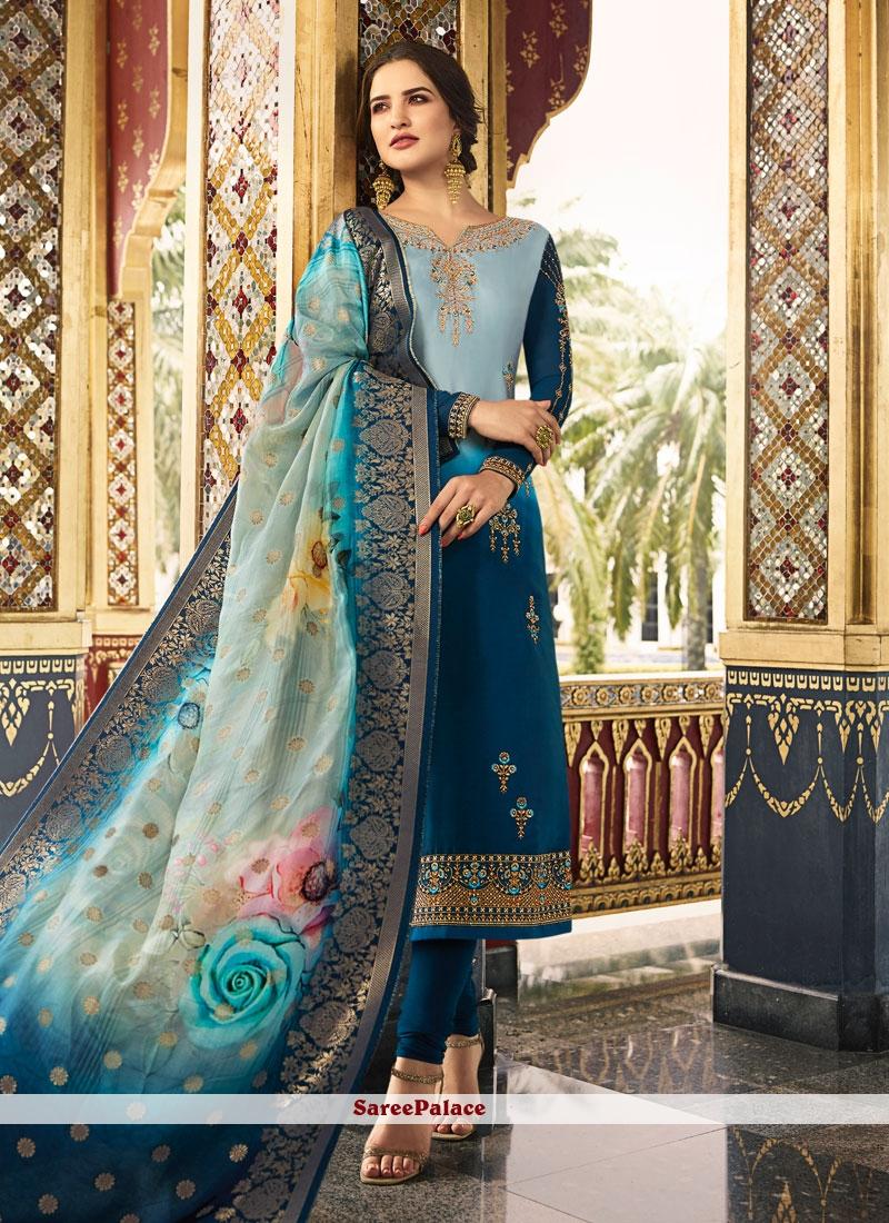 Blue Silk Churidar Salwar Kameez