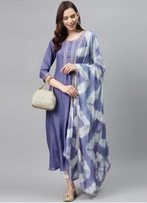 Blue Silk Designer Palazzo Salwar Kameez