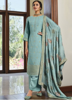 Blue Silk Embroidered Designer Palazzo Suit