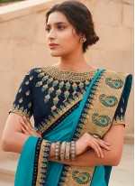 Blue Silk Embroidered Contemporary Saree