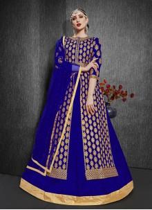 Blue Silk Embroidered Designer Lehenga Choli