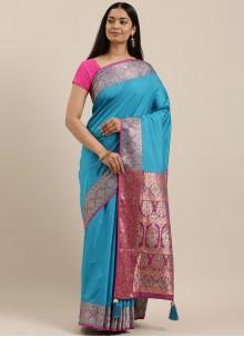 Blue Silk Festival Designer Saree