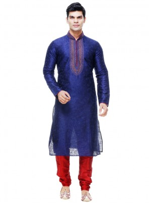 Blue Silk Kurta Pyjama with Plain