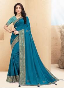 Blue Silk Lace Traditional Saree