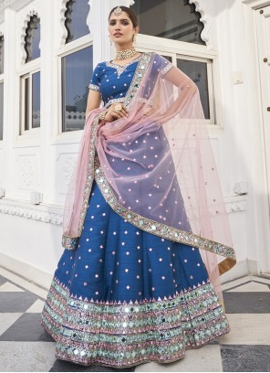 Blue Silk Reception Designer Lehenga Choli