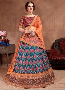 Blue Silk Thread Designer Lehenga Choli