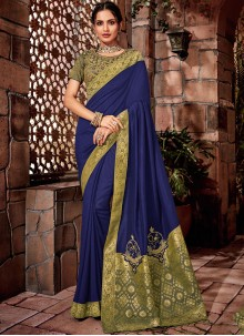Blue Silk Thread Designer Saree