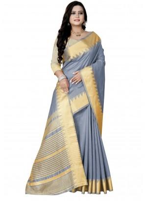 Blue Silk Weaving Zari Work Designer Saree