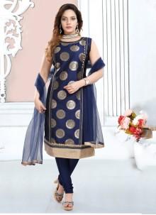 Blue Silk Trendy Salwar Suit