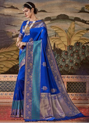 Blue Silk Weaving Classic Saree