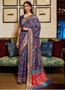 Blue Silk Weaving Contemporary Saree