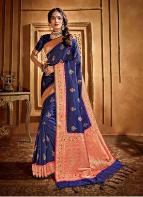 Blue Silk Weaving Silk Saree