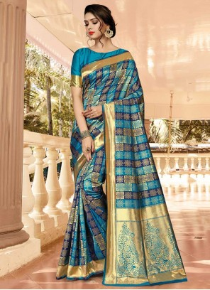 Blue Silk Weaving Traditional Saree