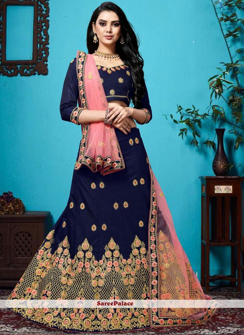 Blue Silk Wedding Designer Lehenga Choli