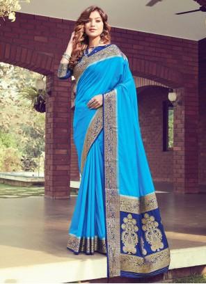 Blue Silk Woven Designer Traditional Saree