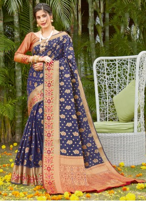 Blue Silk Woven Traditional Saree