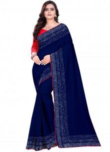Blue Stone Art Silk Designer Saree