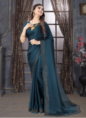 Blue Stone Satin Trendy Saree