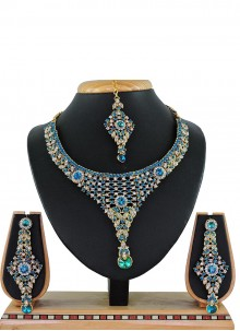 Blue Stone Work Festival Necklace Set