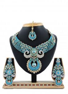 Blue Stone Work Necklace Set