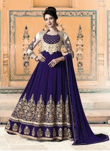 Blue Stone Work Trendy Anarkali Salwar Kameez