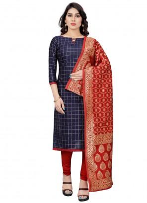 Blue Tafeta Silk Festival Churidar Designer Suit