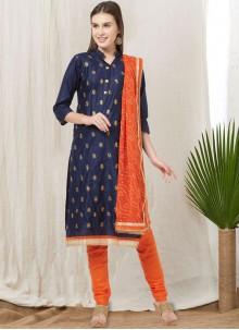 Blue Thread Cotton Churidar Suit
