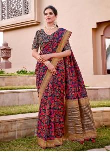 Blue Thread Work Classic Designer Saree