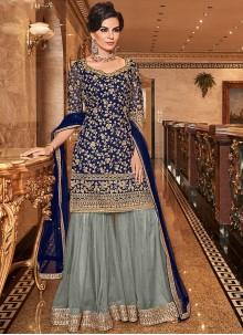Blue Trendy Palazzo Salwar Kameez