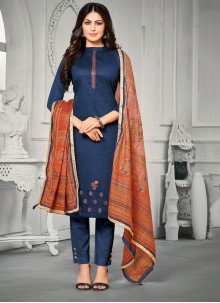 Blue Trendy Straight Salwar Suit