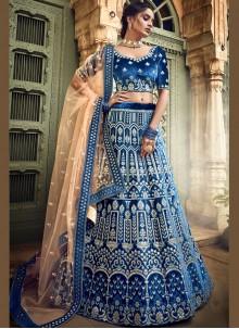 Blue Velvet Designer A Line Lehenga Choli