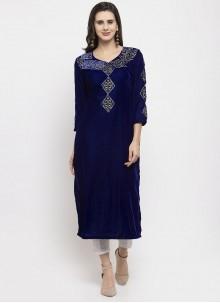 Blue Velvet Festival Readymade Salwar Suit