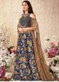 Blue Velvet Trendy Lehenga Choli