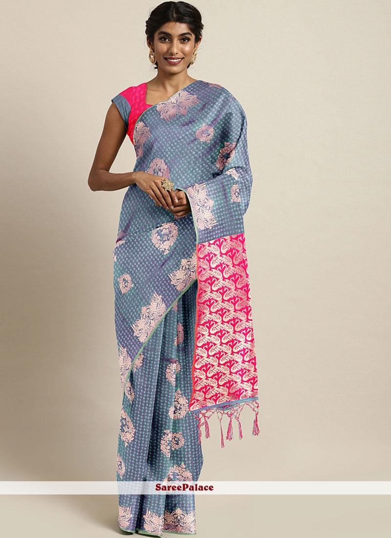 Blue Weaving Art Silk Traditional Designer Saree