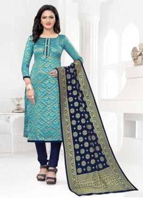 Blue Weaving Banarasi Silk Churidar Designer Suit
