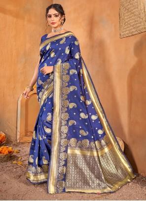 Blue Weaving Banarasi Silk Classic Saree