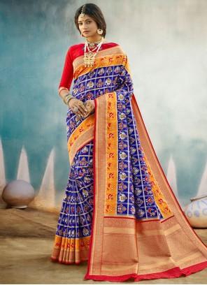 Blue Weaving Banarasi Silk Designer Traditional Saree