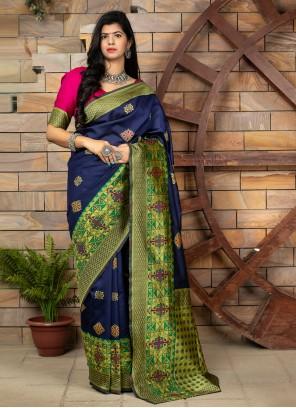 Blue Weaving Banarasi Silk Traditional Designer Saree