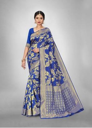 Blue Weaving Casual Trendy Saree