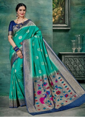 Blue Weaving Classic Saree