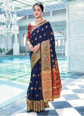 Blue Weaving Cotton Traditional Saree