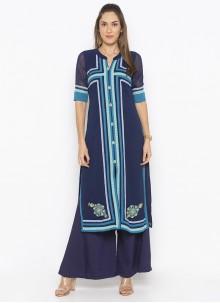Blue Weaving Designer Kurti