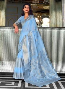 Blue Weaving Fancy Fabric Traditional Designer Saree