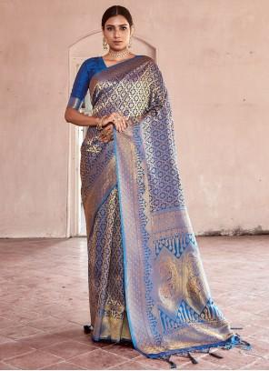 Blue Weaving Handloom silk Traditional Designer Saree