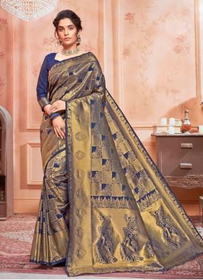 Blue Weaving Jacquard Silk Traditional Saree