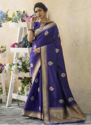 Blue Weaving Mehndi Traditional Saree
