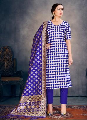 Blue Weaving Pant Style Suit